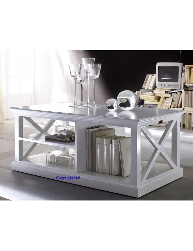 Table de salon basse acajou blanc halifax - Table de salon blanc ...