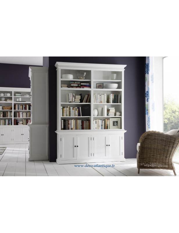 biblioth que large acajou blanc bois massif. Black Bedroom Furniture Sets. Home Design Ideas