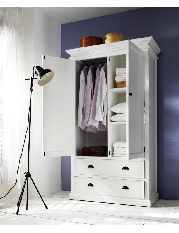 armoire penderie bois acajou blanc. Black Bedroom Furniture Sets. Home Design Ideas