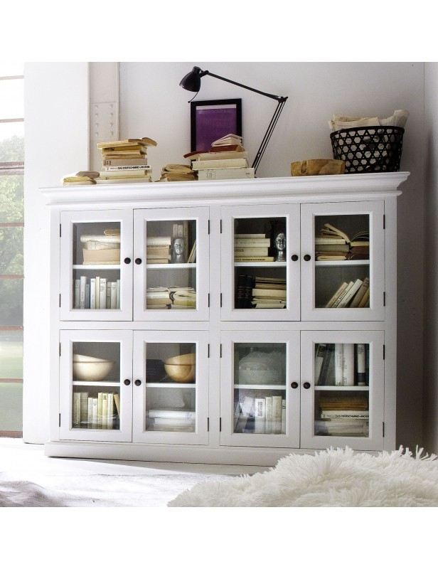 buffet bas 8 portes vitr es acajou blanc halifax. Black Bedroom Furniture Sets. Home Design Ideas