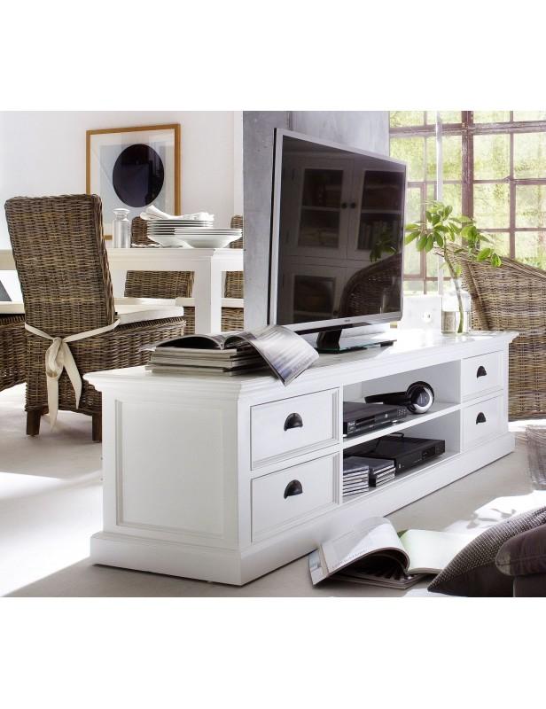 Meuble TV blanc 4 tiroirs 2 étagères bois massif