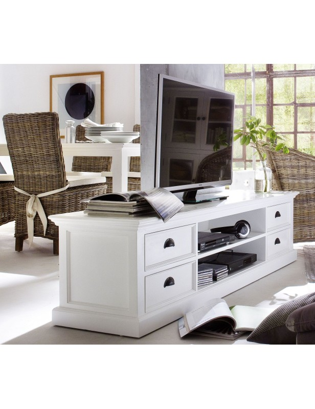 meuble tv blanc 4 tiroirs 2 tag res bois massif. Black Bedroom Furniture Sets. Home Design Ideas