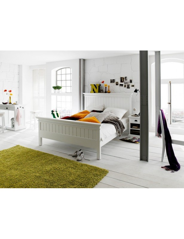 lit 2 personnes 160 acajou blanc halifax. Black Bedroom Furniture Sets. Home Design Ideas