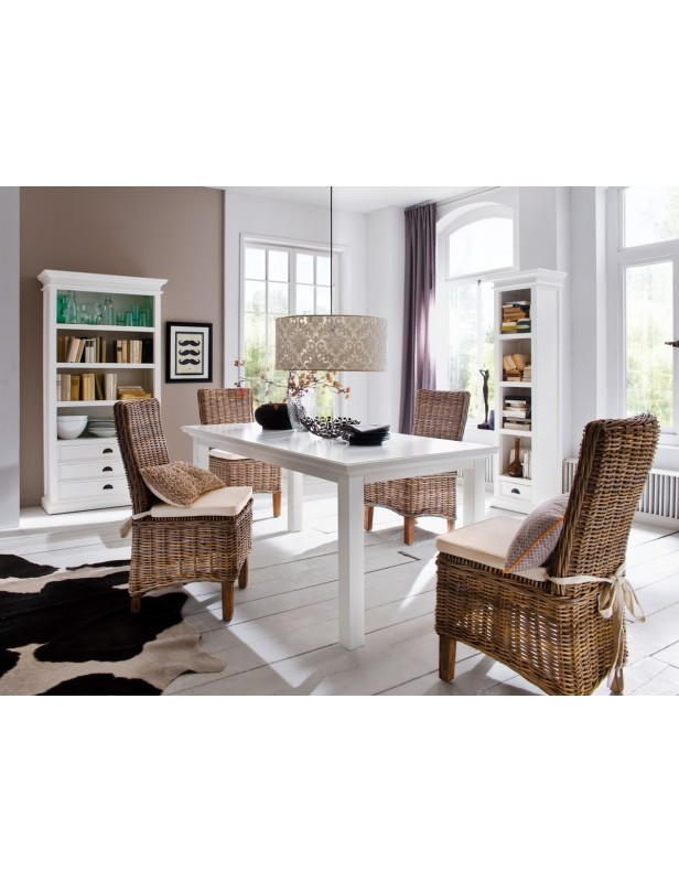 Table salle à manger 160 acajou blanc