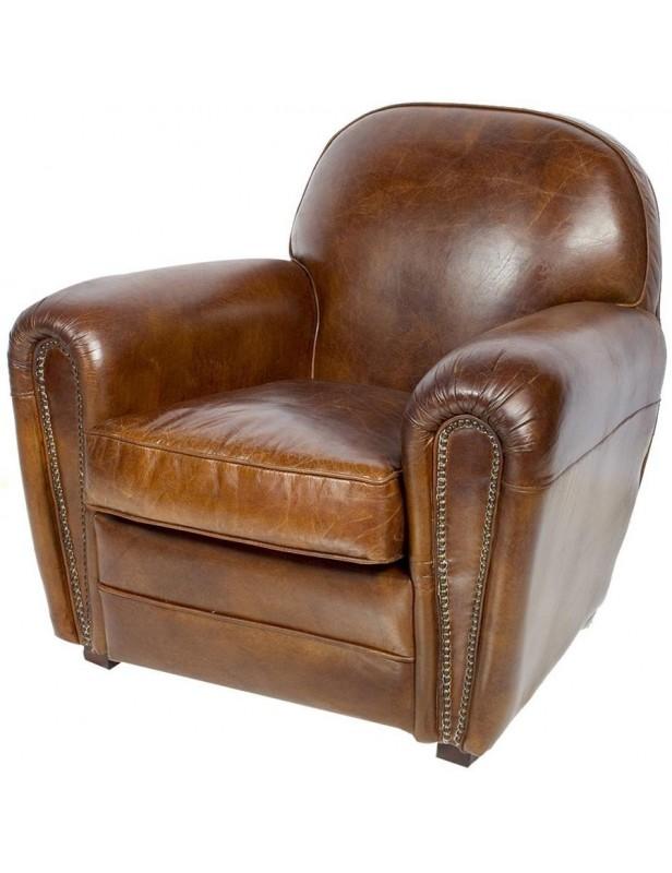 fauteuil cuir marron patiné grand large