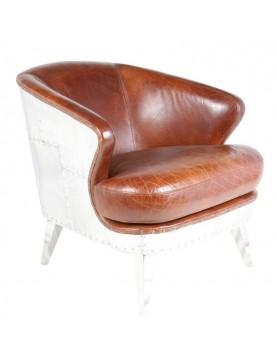 Chaise cuir marron patiné aluminum  grand large