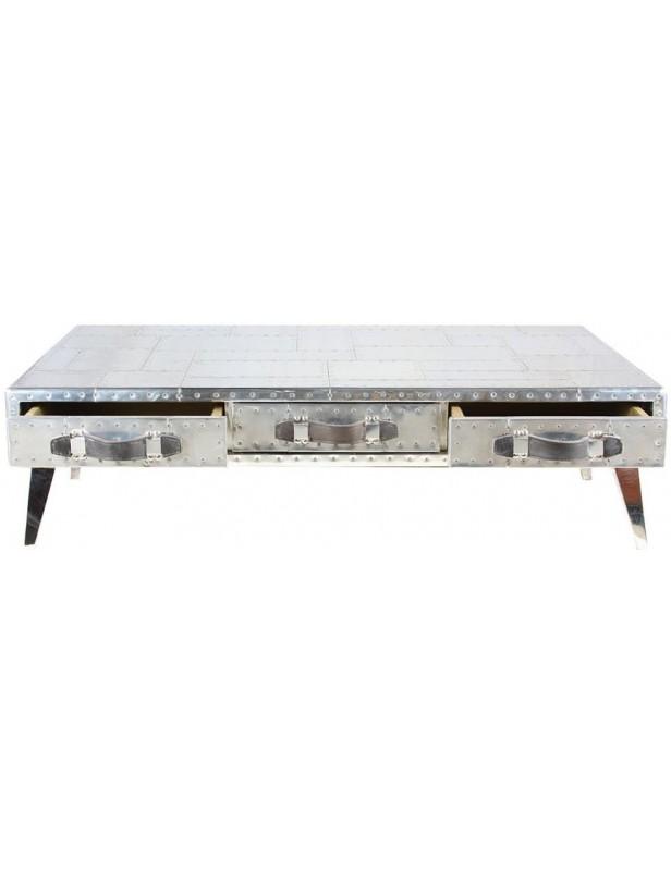 Table basse sur pieds aluminium transat