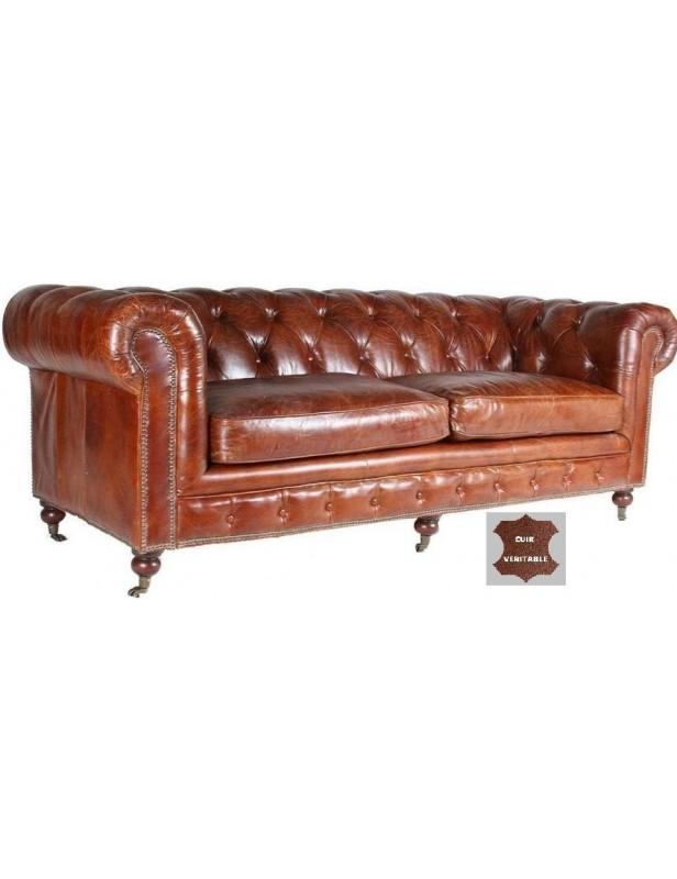 canapé 100 % cuir marron foncé roulettes atlantic chair