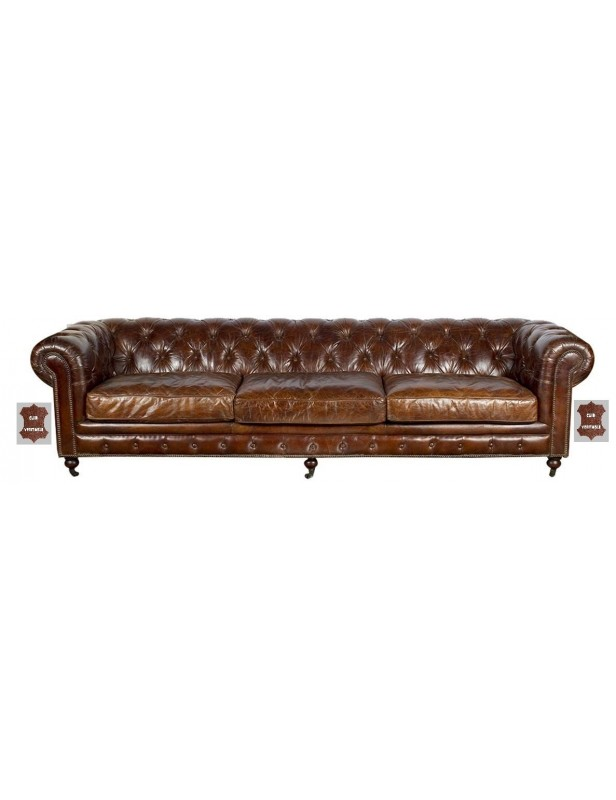 Canapé cuir marron très grande largeur 3,03 atlantic chair roulettes