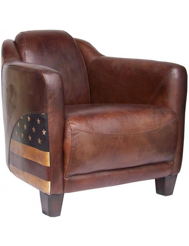fauteuil club am ricain cuir marron salon. Black Bedroom Furniture Sets. Home Design Ideas