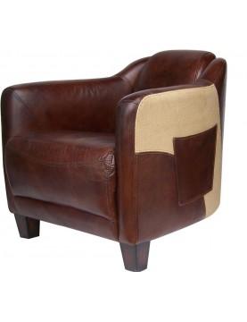 Fauteuil  club cuir marron avec rangement club house