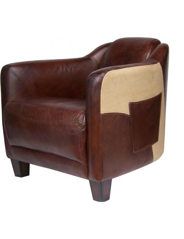 fauteuil bi mati¨re cuir toile de jute marron club house