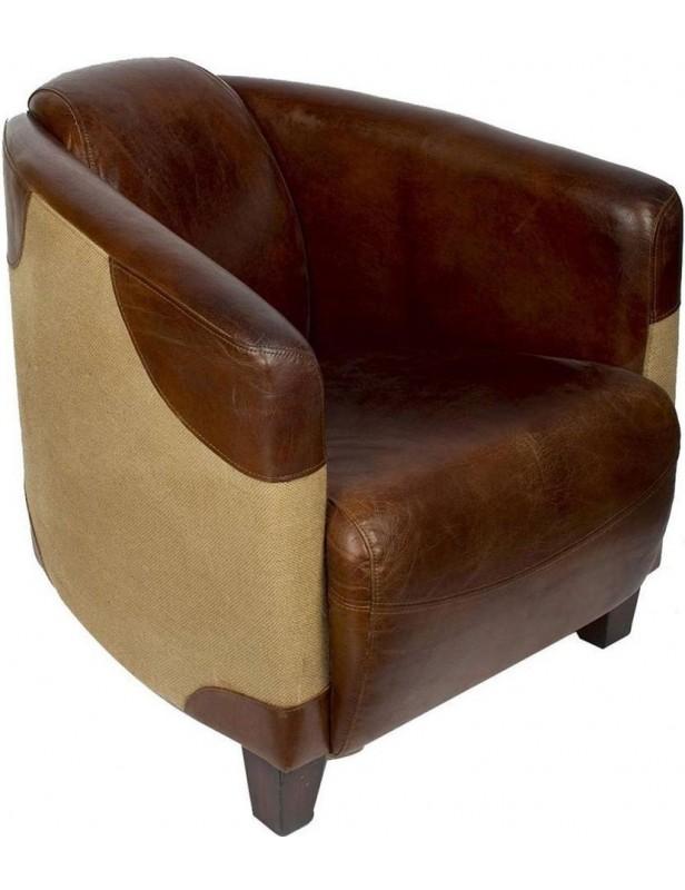 fauteuil confort cocon cuir marron toile de jute beige meubles tv