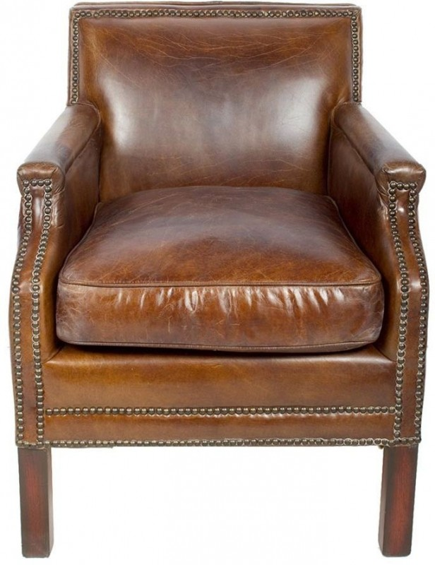 fauteuil cuir véritable marron clous tapissier meubles salon
