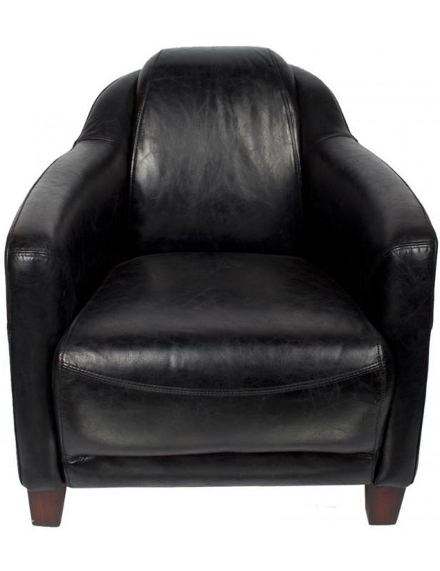 fauteuil cuir véritable noir confort meubles salon