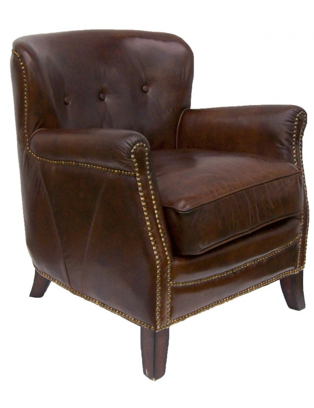 fauteuil club english cuir marron clous tapissier salon