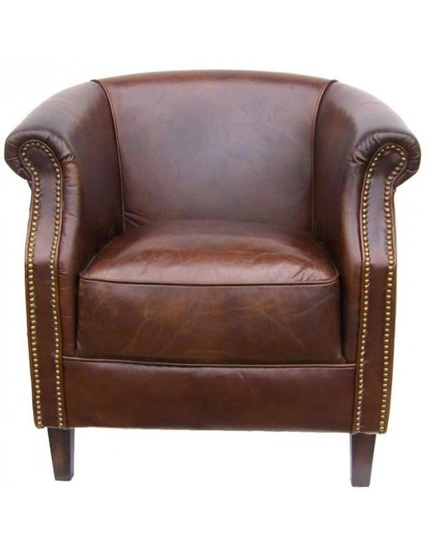 berg re cuir marron clous tapissier. Black Bedroom Furniture Sets. Home Design Ideas