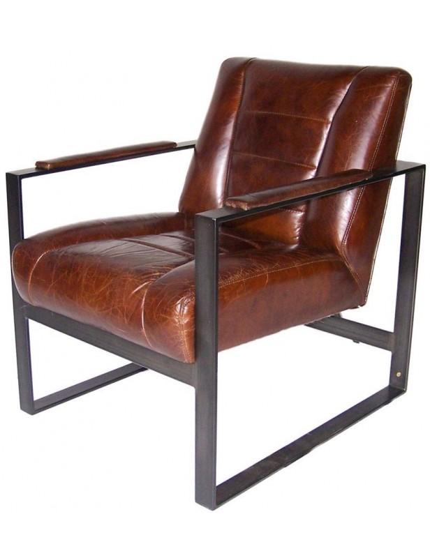 fauteuil industriel cuir marron structure acier