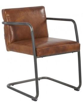 chaise industriel cuir marron structure fer noir