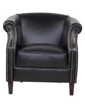 Fauteuil cuir coloris noir clous tapissier