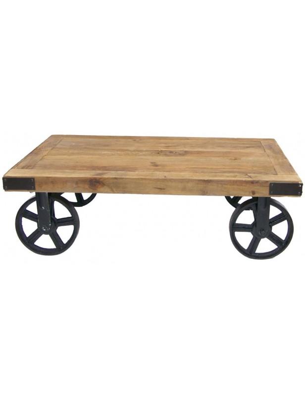 Table basse bois recyclé roues métal noires