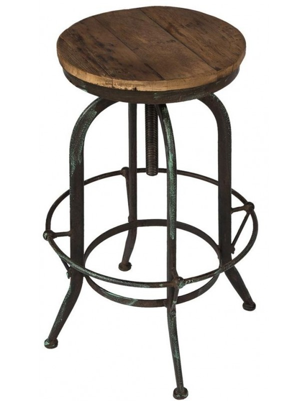 tabouret rond bois recycl industriel pied r glable. Black Bedroom Furniture Sets. Home Design Ideas