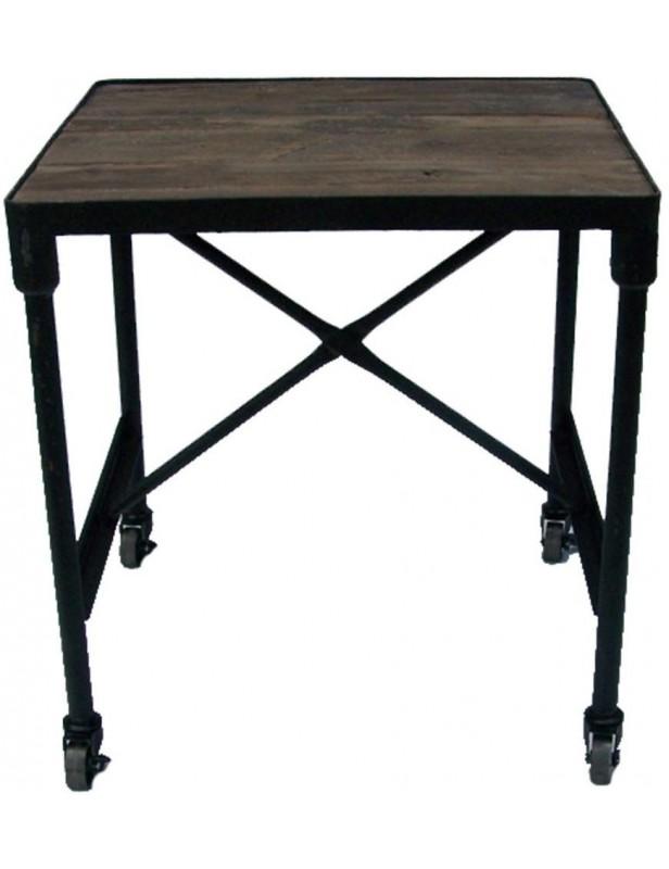 bout de canap bois recycl industriel pieds roulettes. Black Bedroom Furniture Sets. Home Design Ideas
