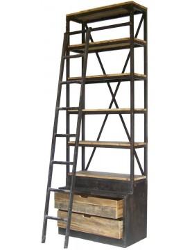 Etagère bibliothèque échelle bois recyclé 2 tiroirs