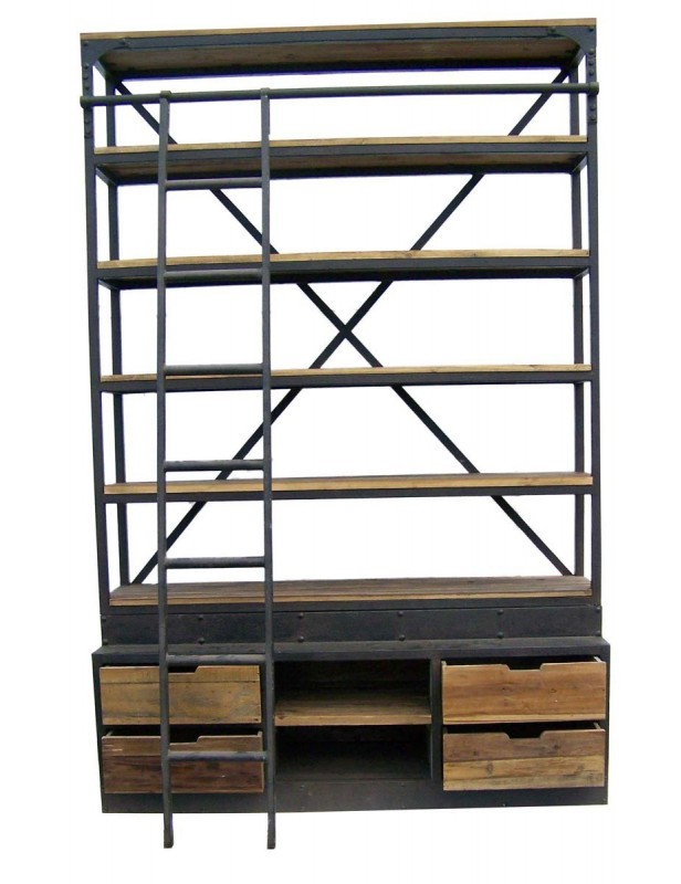 Grande biblioth que tag re bois recycl 5 tablettes 4 for Etagere bois industriel