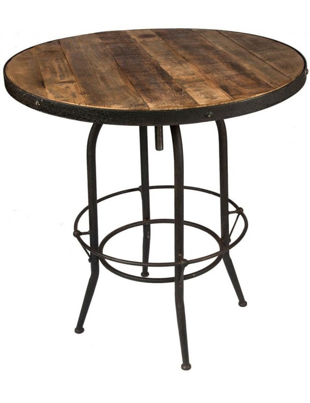 Table bar haute ronde bois recycl industriel pied r glable for Table haute bois et metal