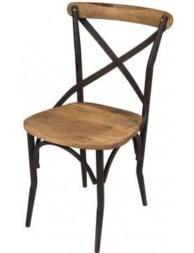 Chaise de bar dossier bois recyclé structure métal