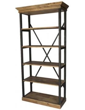 Etagère bibliothèque moyenne bois recyclé 5 étages industrielle