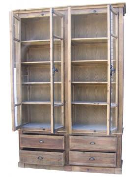Grande bibliothèque armoire bois recyclé 10 étagères 4 tiroirs