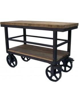Trolley industriel 2 plateaux bois recyclé roues métal