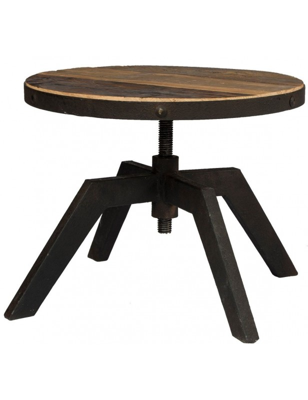 table basse ronde plateau r glable bois recycl. Black Bedroom Furniture Sets. Home Design Ideas