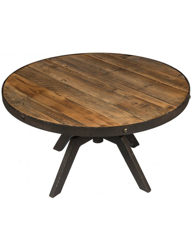 Table basse ronde plateau moyen r glable bois recycl industrielle structure - Grande table basse ronde ...