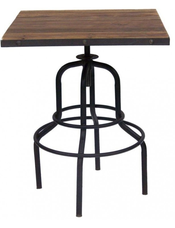 table bar duo carr e bois recycl industriel pied m tal. Black Bedroom Furniture Sets. Home Design Ideas