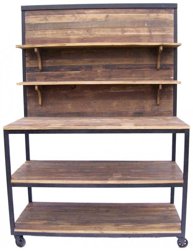 Console meuble tabli m tal bois recycl naturel 3 - Etagere plan de travail ...