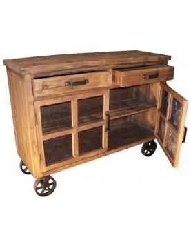 Buffet bas 2 tiroirs 2 étagères sur roulettes bois recyclé poignées laiton
