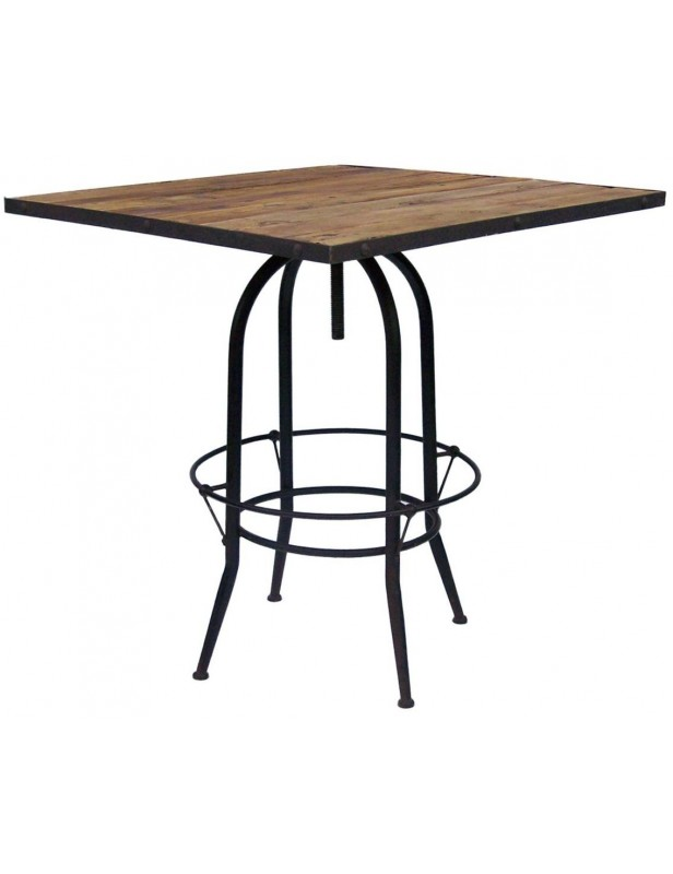 table bar carr e r glable bois recycl industriel pied m tal. Black Bedroom Furniture Sets. Home Design Ideas