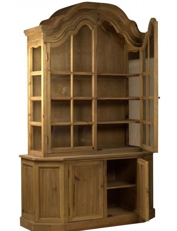 bibliothèque buffet 2 corps étagères bois recyclé rangement gros volume