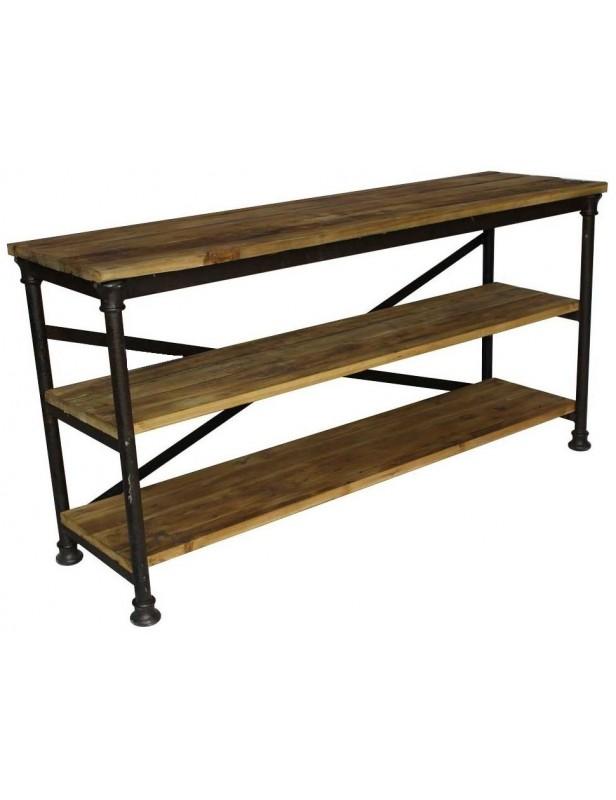 console industrielle 3 plateaux meuble bois recycl pied m tal. Black Bedroom Furniture Sets. Home Design Ideas