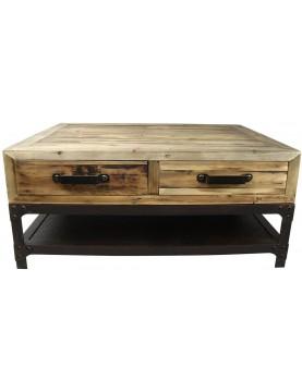 Table basse industrielle 4 tiroirs bois recyclé 1 tablette pieds métal