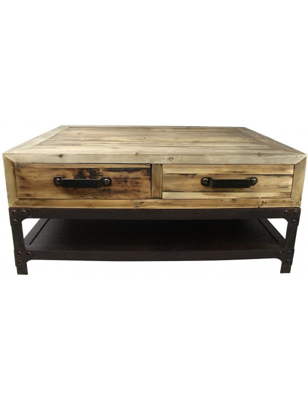 table basse industrielle 4 tiroirs poign es m tal 1 tag re m tal bois recycl pied m tal. Black Bedroom Furniture Sets. Home Design Ideas
