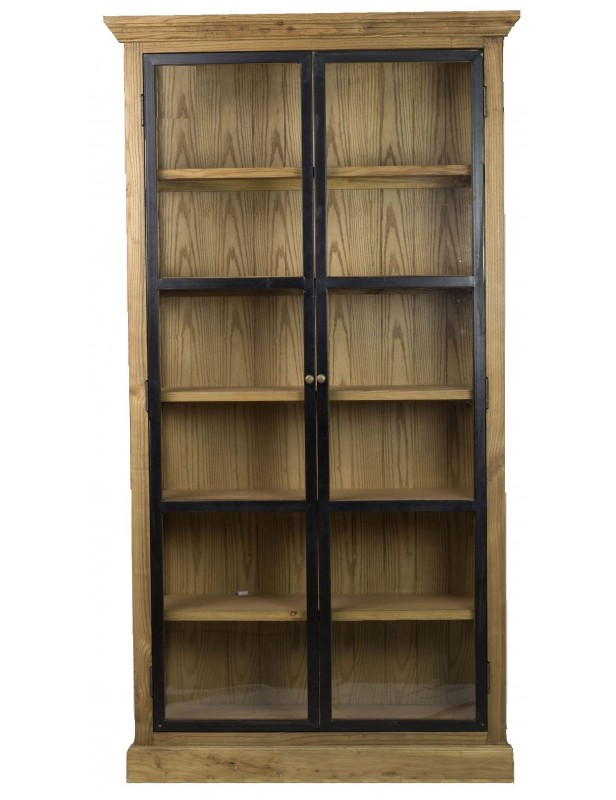 armoire 2 portes m tal vitr es industrielle boutons laiton 6 tag res bois recycl. Black Bedroom Furniture Sets. Home Design Ideas