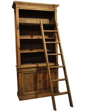 Bibliothèque avec échelle portes bois recyclé 4 étagères