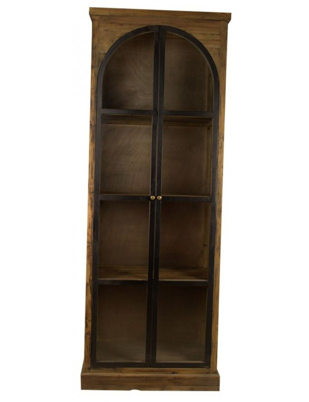 Armoire industrielle vitr e rangement tag res bois for Armoire industrielle bois