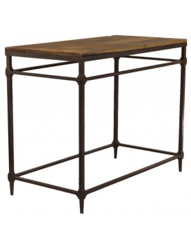 table ronde bois recycl industriel pied r glable. Black Bedroom Furniture Sets. Home Design Ideas