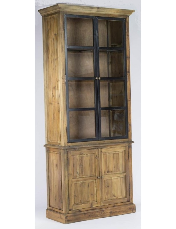 armoire buffet portes vitr es m tal tag res bois recycl. Black Bedroom Furniture Sets. Home Design Ideas
