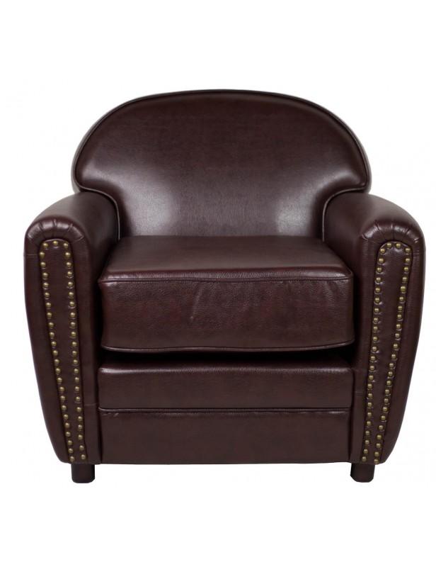 fauteuil club cuir reconstitué clous tapissier coloris marron ... b6f582e6bd40